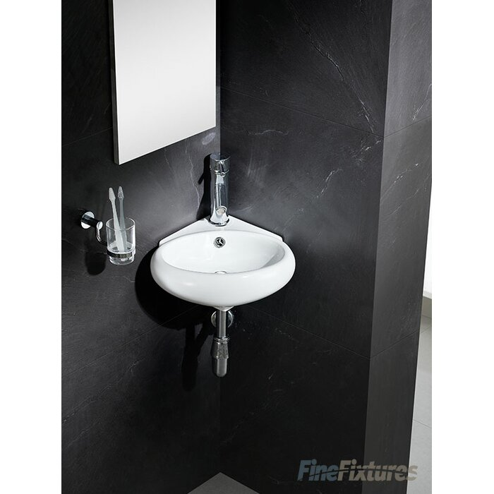 "fine fixtures modern vitreous 17"" corner bathroom sink & reviews"