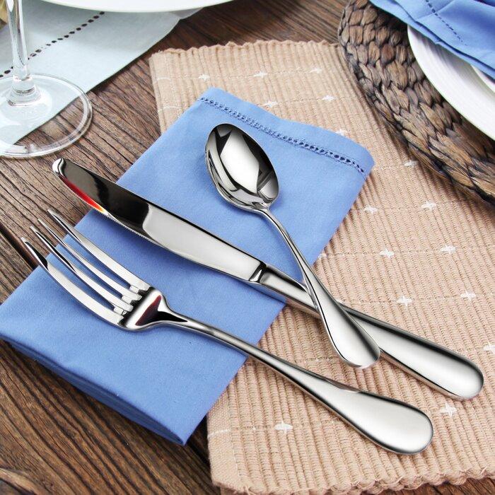artaste rain 36 piece stainless steel flatware set u0026 reviews wayfair - Stainless Steel Flatware