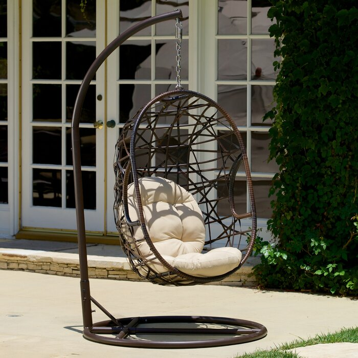 Adelia Egg Shaped Outdoor Swing Chair With Stand U0026 Reviews   Birch Lane