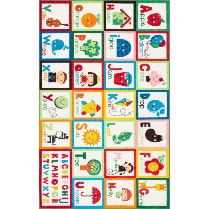 zoomie kids rebekah kids alphabet redgreen area rug u0026 reviews wayfair