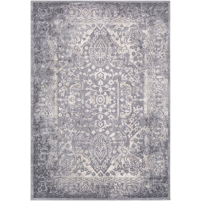 Thissell Vintage Persian Medallion Gray Area Rug
