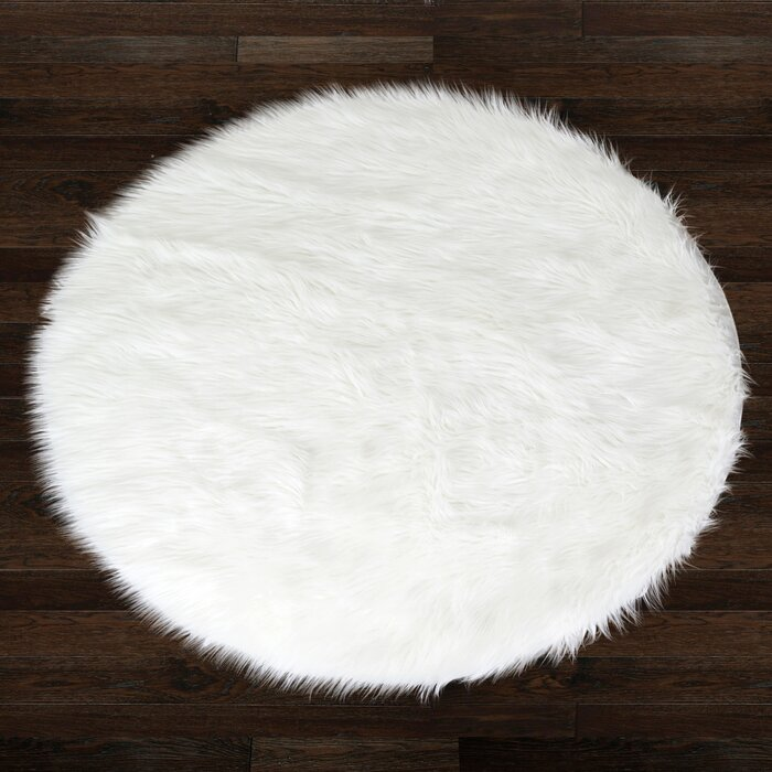 Glamour Home Decor Alair White Round Faux Fur Area Rug U0026 Reviews | Wayfair