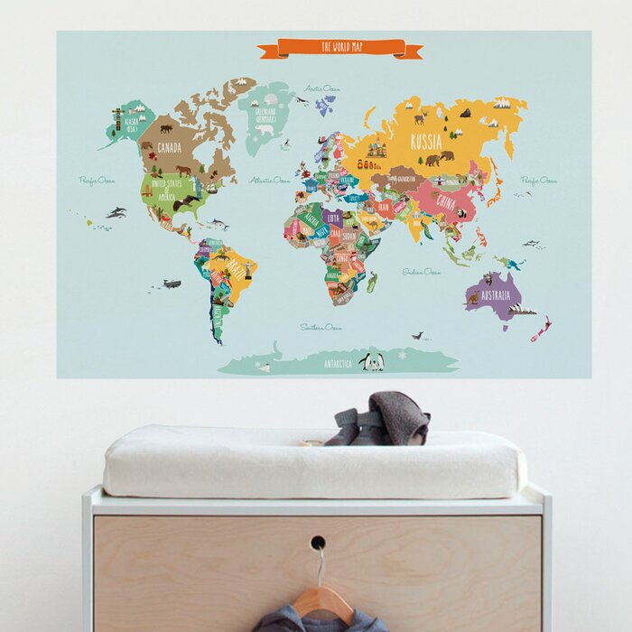 SimpleShapes Countries Of The World Map Poster Wall Decal - Wall decals map
