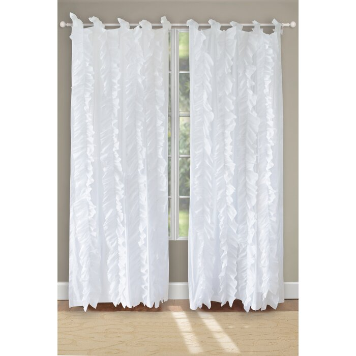 greenland home fashions waterfall solid sheer tab top curtain panels u0026 reviews wayfair - Greenland Home Fashions