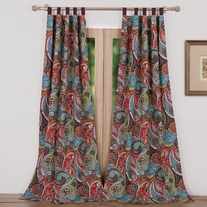 greenland home fashions tivoli paisley sheer tab top curtain panels u0026 reviews wayfair - Greenland Home Fashions
