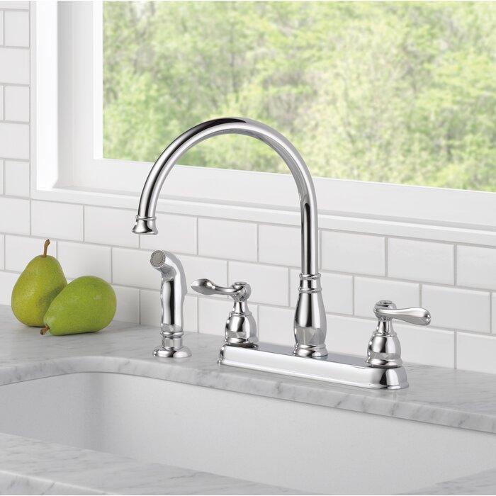 delta windemere double handle standard kitchen faucet & reviews