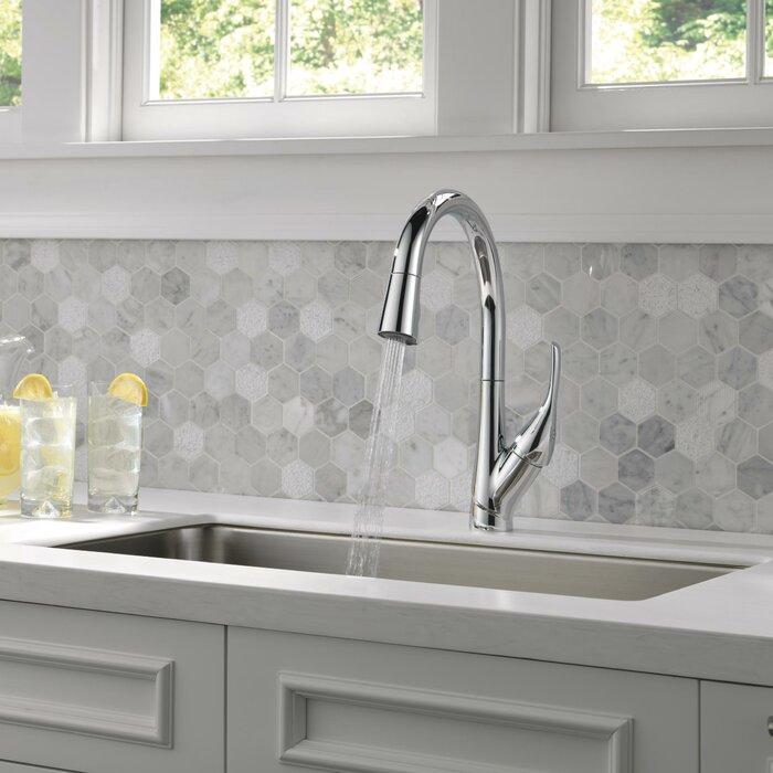 Delta Pull Down Kitchen Faucet delta esque single handle pull down kitchen faucet & reviews | wayfair