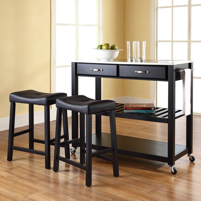 Crosley Kitchen Island Set with Stainless Steel Top & Reviews ...