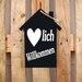 Factory4Home Schild-Set HS-Herzlich Willkommen, Typographische Kunst in Schwarz