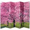 "Oriental Furniture 70.88"" x 94.5"" Double Sided Cherry Blossom 6 Panel Room Divider"