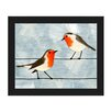 Click Wall Art 'Robins on a Wire Blue' Framed Graphic Art