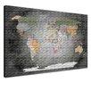 "LanaKK Leinwandbild ""World Map Edelgrau - Französisch"", Grafikdruck in Grau"