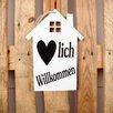 Factory4Home 2-tlg. Schild-Set HS-Herzlich Willkommen, Typographische Kunst in Weiß