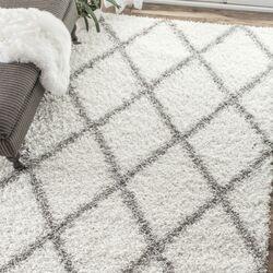 Teppich in Grauweiß/Weiß