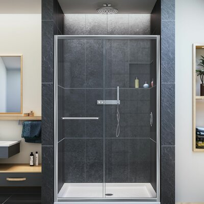 DreamLine Infinity-Z 48  x 72  Single Sliding Frameless Shower Door u0026 Reviews | Wayfair & DreamLine Infinity-Z 48