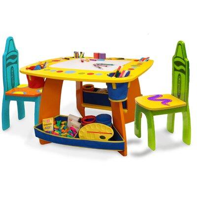 Grow N Up Crayola Wooden Kids 3 Piece Table And Chair Set Reviews Wayfair