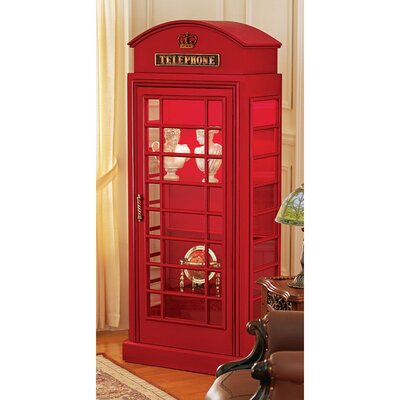 Design Toscano British Telephone Booth Display Accent Cabinet ...
