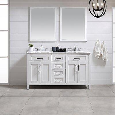 Tahoe 60 Double Bathroom Vanity Set With Mirror In White