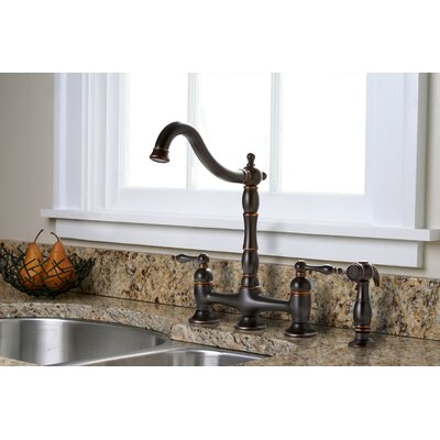 premier faucet charlestown two handle bridge style kitchen faucet with matching side spray u0026 reviews wayfair