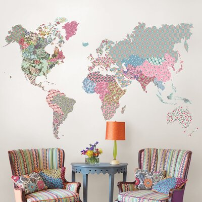 Boho World Map Wall Decal U0026 Reviews | Wayfair.ca