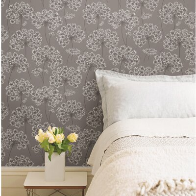 "wallpops! nu 18' x 20.5"" angelica gray peel and stick wallpaper"