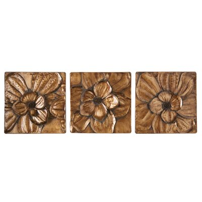 Panel Wall Decor three posts 3 piece magnolia brown panel wall décor set & reviews