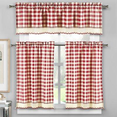 Loon Peak Cassia 3 Piece Crochet Kitchen Curtain Set | Wayfair