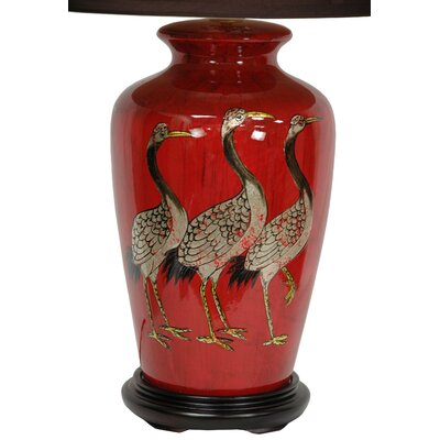 Oriental furniture crowned cranes vase 26 table lamp for Oriental vase and furniture