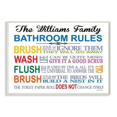 Bathroom Rules stupell industries personalized bathroom rules rainbowjanet