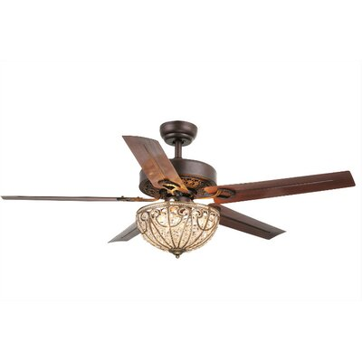 Campos 5 Blade Crystal Light Ceiling Fan & Reviews