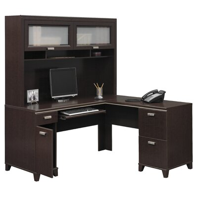 bush furniture tuxedo lshape computer desk with hutch u0026 reviews wayfair - Bush Furniture