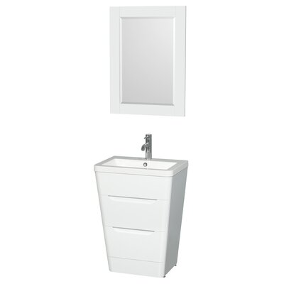 "24 White Bathroom Vanity wyndham collection caprice 24"" single glossy white bathroom vanity"