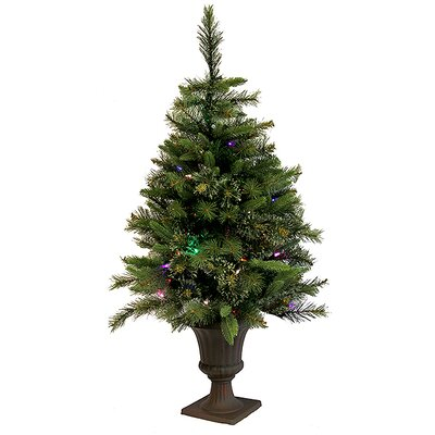 3.5' Mixed Pine Cashmere Potted Artificial Christmas Tree with LED ...