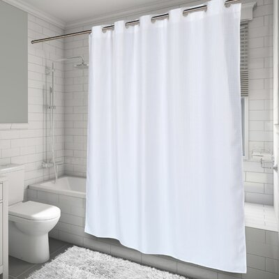White Waffle Shower Curtain carnation home fashions ez-on® waffle weave shower curtain