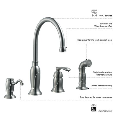 Design House Madison Single Handle Kitchen Faucet With Sprayer And Soap Dispenser Reviews Wayfair