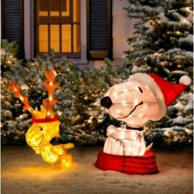 product works decorative peanuts soft tinsel snoopy with woodstock christmas yard art reviews wayfairca
