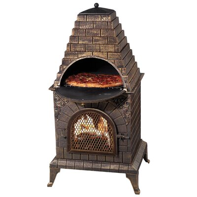 Deeco Aztec Allure Pizza Oven Outdoor Fireplace with Rain Cover