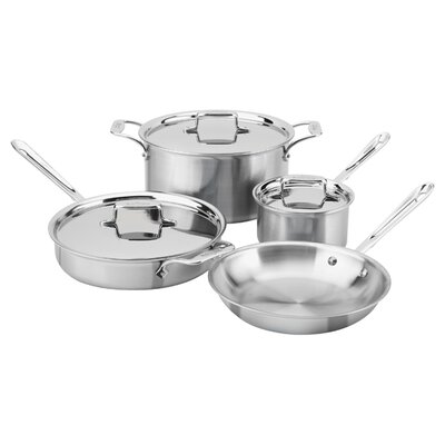 allclad brushed stainless steel 7 piece cookware set u0026 reviews wayfair