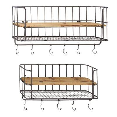 Wood And Metal Wall Shelves woodland imports 2 piece metal and wood wall shelf hook set