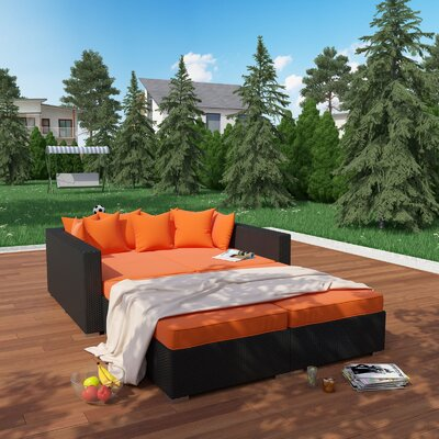 Modway Fence 4 Piece Outdoor Patio Daybed With Cushions U0026 Reviews | Wayfair