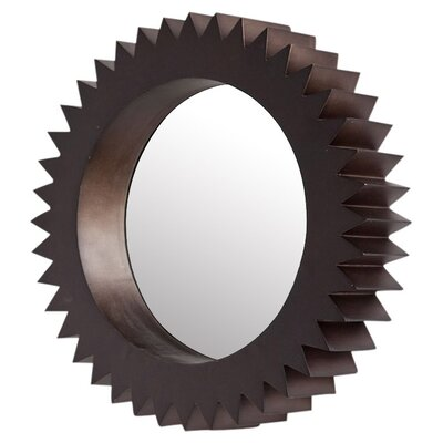 "Brown Wall Mirror mercana cog 19"" wall mirror in brown & reviews | wayfair"