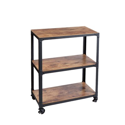 3 Tier Wooden Utility Cart Rolling Wagon Serving Rack Kitchen Organizer  Shelves