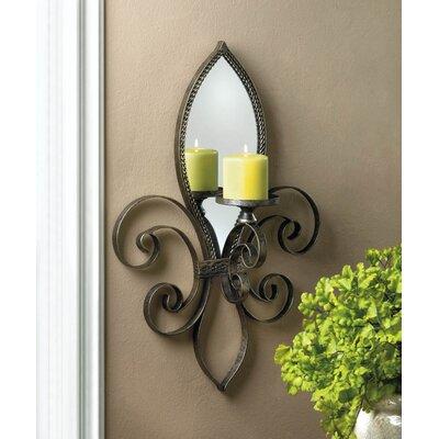 Mirrored Wall Sconce zingz & thingz fleur-de-lis mirrored wall sconce & reviews | wayfair