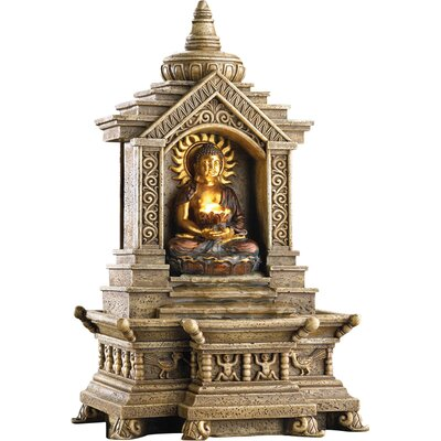 Zingz U0026 Thingz Polyresin Golden Buddha Temple Resin Fountain With Light U0026  Reviews | Wayfair