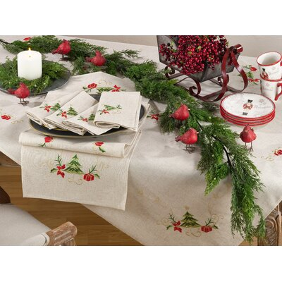 The Holiday Aisle Embroidered Christmas Tree Design Holiday Linen Blend  Tablecloth U0026 Reviews | Wayfair