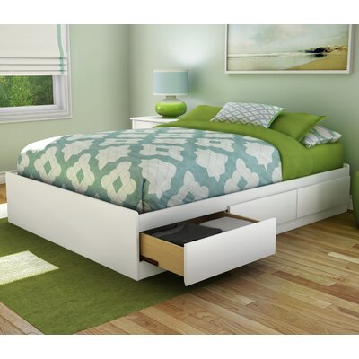 south shore step one fulldouble storage platform bed reviews wayfair - Full White Bed Frame