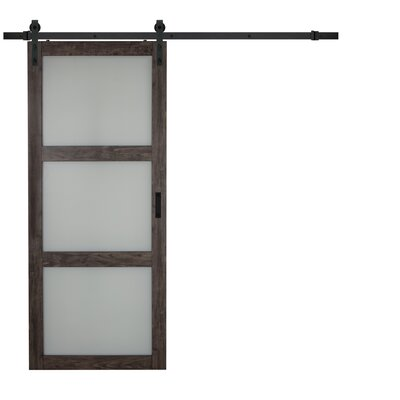 Erias Home Designs Continental Frosted Glass 1 Panel Ironage Laminate  Interior Barn Door U0026 Reviews | Wayfair