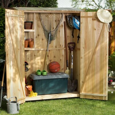 all things cedar western red cedar 4 ft 1 in w x 1 ft 11 in d wooden vertical tool shed reviews wayfair - Garden Sheds 8 X 4