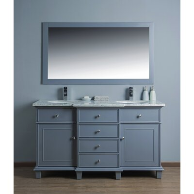 "Birch Lane™ 60"" Double Sink Bathroom Vanity Set with Mirror & Reviews   Wayfair"