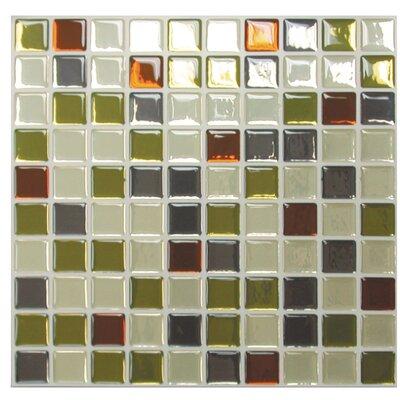 smart tiles mosaic idaho x peel stick wall tile in beige green rust reviews. Black Bedroom Furniture Sets. Home Design Ideas